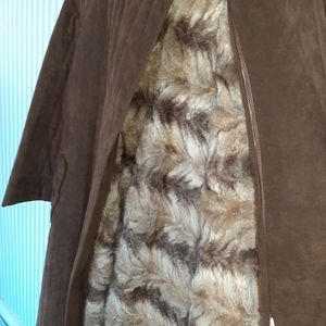 Sterling Stall fur and washable suede overcoat